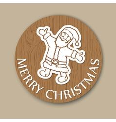 Round wood christmas greeting card santa vector