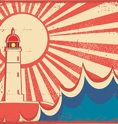 Seascape horizon with lighthouse on old vintage vector image vector image