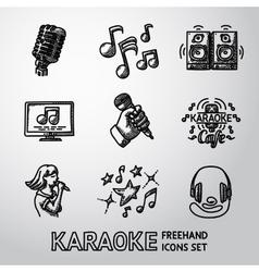 Set of karaoke singing freehand icons - microphone vector