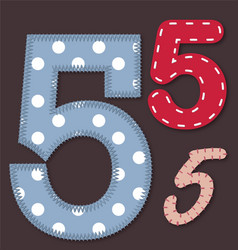 Set of stitched font - 5 Five vector image vector image