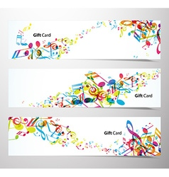 Set of website banners with colorful music notes vector image