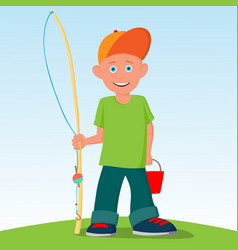 The little boy was going to fish summer active vector