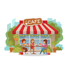 three beautiful women talking at coffee shop vector image