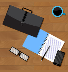 top view of business notebook and briefcase with vector image