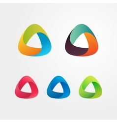 Triangle abstract logo set Elements for business vector image vector image