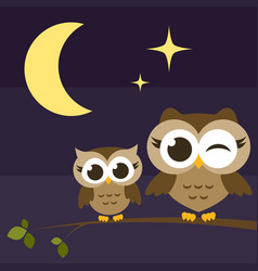two cute owls on branches at night vector image vector image