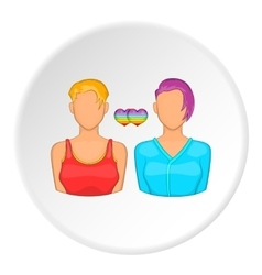 Two girls lesbians icon cartoon style vector
