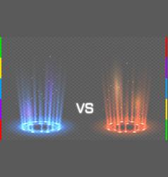 Versus round blue and red glow rays night scene vector