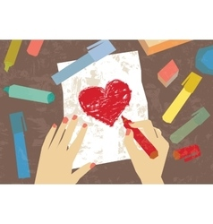 Woman hands love letter drawing heart vector image vector image