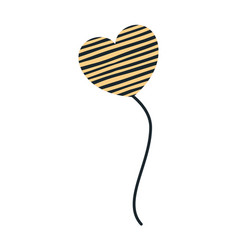 Yellow color silhouette balloon in heart shape vector