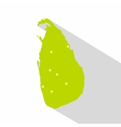 Sri Lanka green map icon flat style vector image