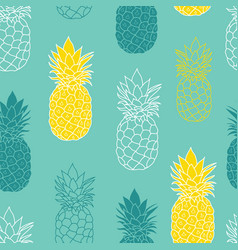 Fresh blue green yellow pineapples repeat vector