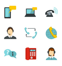 call center service icons set flat style vector image