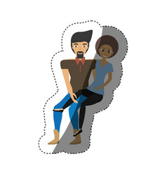 Loving couple carrying girl romance shadow vector