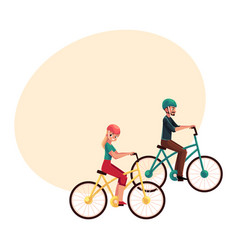 Young couple man and woman riding bicycles vector