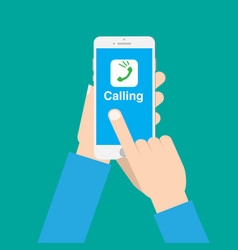 Hands use call application on phone with isolated vector