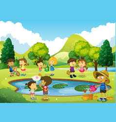 children having fun in the park vector image
