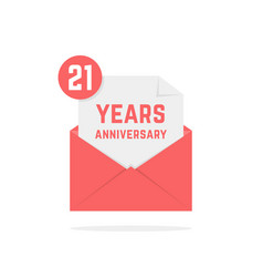 21 years anniversary icon in red open letter vector