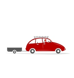 Man driving red car with boxes on the roof rack vector