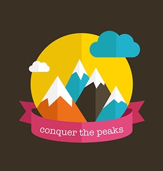 Mountain design with ribbon vector