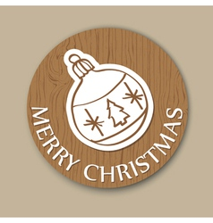 round woody christmas greeting card with ball vector image