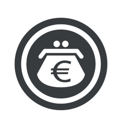 Round black euro purse sign vector