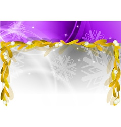 Christmas banner with gold mistletoe vector