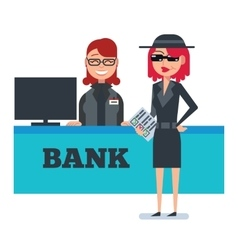 Mystery shopper woman in spy coat checks bank vector