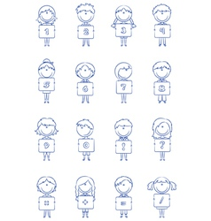 Kid numbers and symbols vector