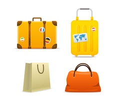 Travel bags collection isolated on white vector