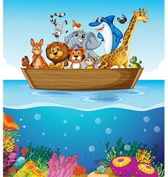 A boat at the sea with animals vector