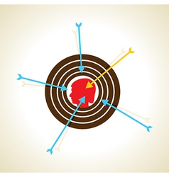 Arrow pointed on boy head or focus concept vector