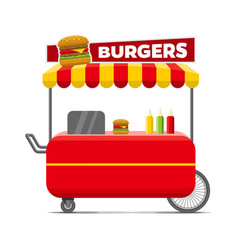 Burgers street food cart colorful image vector