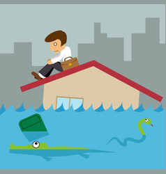 Business man on roof house flood city vector