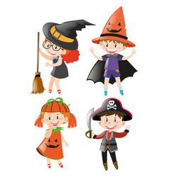 children in different halloween costume vector image