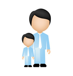 Color silhouette faceless with father and son in vector