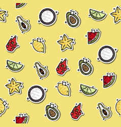 colored tropical fruit concept icons pattern vector image vector image