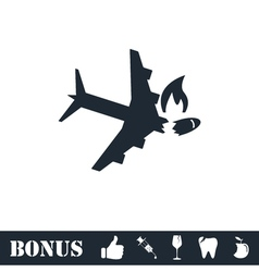 Crash plane icon flat vector