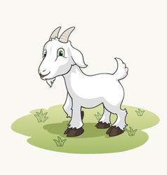 Cute cartoon goat on the grass vector