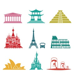 Famous monuments travel icons vector image vector image