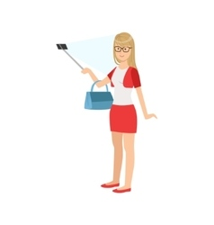 Girl in red skirt taking picture with selfie stick vector