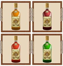 icons with pirate rum vector image