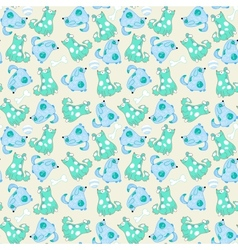 Kid seamless pattern with cartoon blue dogs vector image