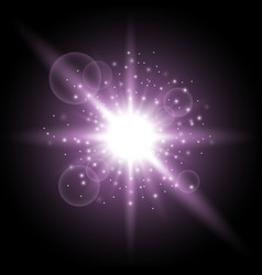 Light circle with stardust purple color vector