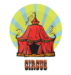 magic red circus frame hand drawn comic style vector image