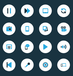 Media colorful icons set collection of palmtop vector