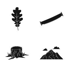 oak leaf saw stump mountainforest set vector image vector image