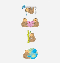Panda cartoon set vector image