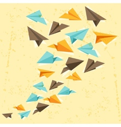 Paper planes on the grunge background vector