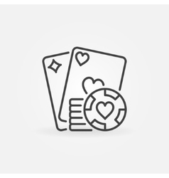 Poker line concept icon vector